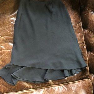 Midi skirt with side ruffle polka dot